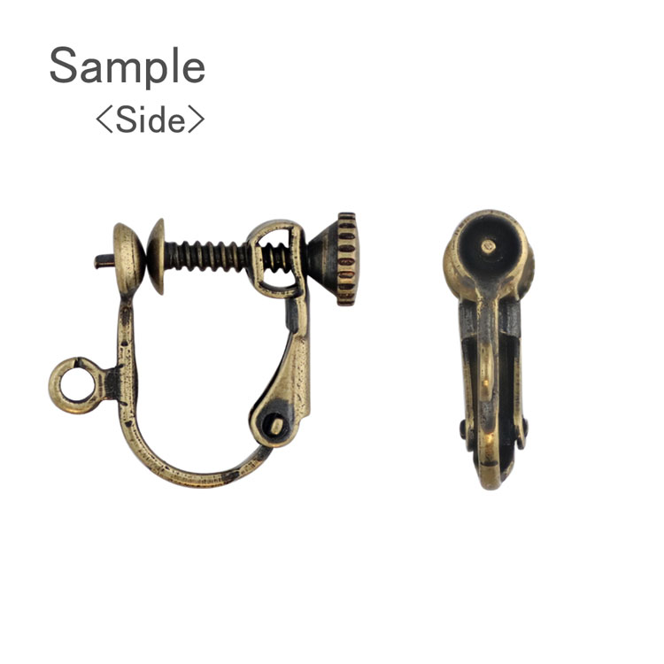イヤリング 片穴用(約4mm丸皿芯あり カン付・ネジバネ式) / R / 1ペア