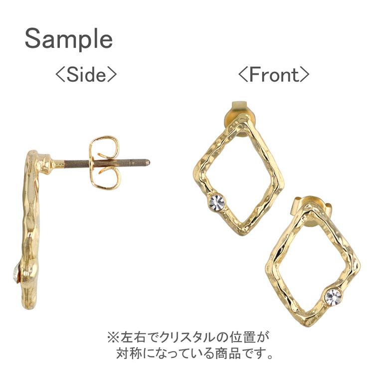 チタンポストピアス(変形ダイヤフープ・石付 3998) / CR・R / 1ペア