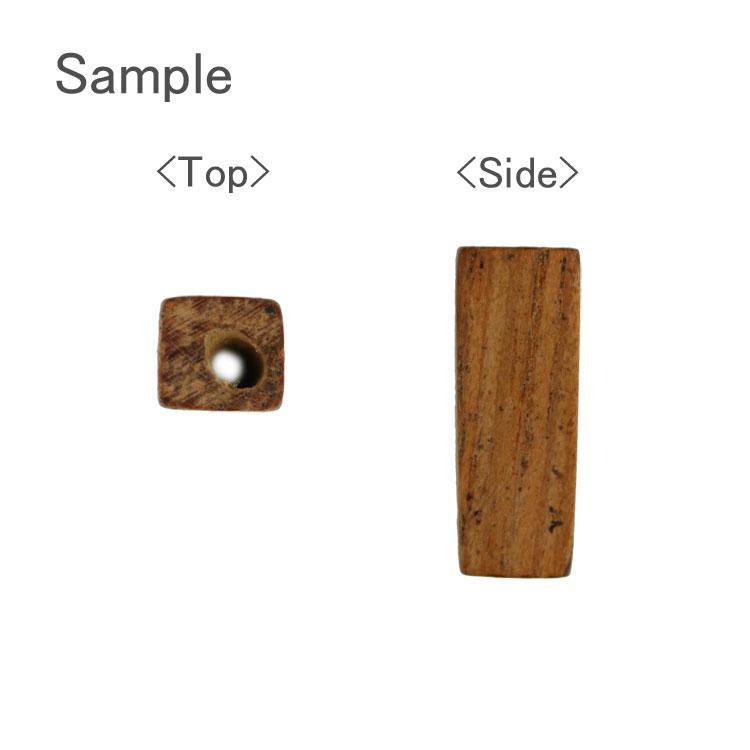 ウッドビーズ / 角柱(1164)/ ホワイトウッド / 約15×5mm