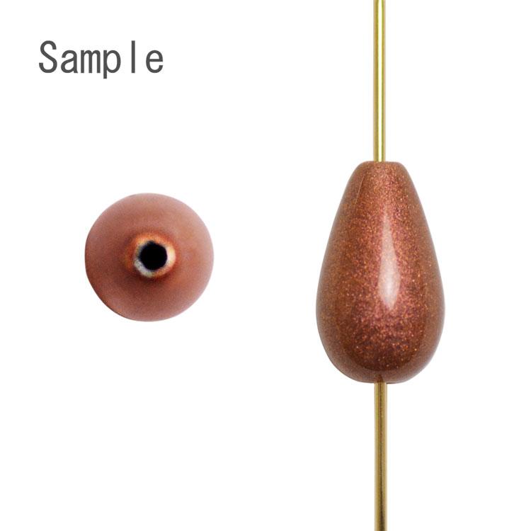 パール / 日本製プラスチックパール(塗装 しずく・縦穴) / かばいろ / 12×7mm