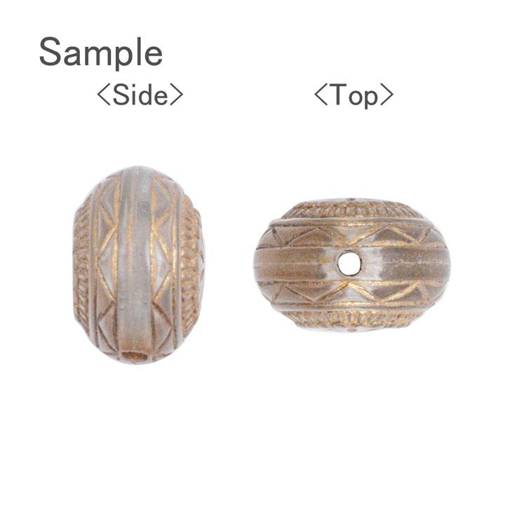 プラスチックパーツ / アクリル アンティーク風デザインビーズ(768)/ BK / 約12×12×8mm