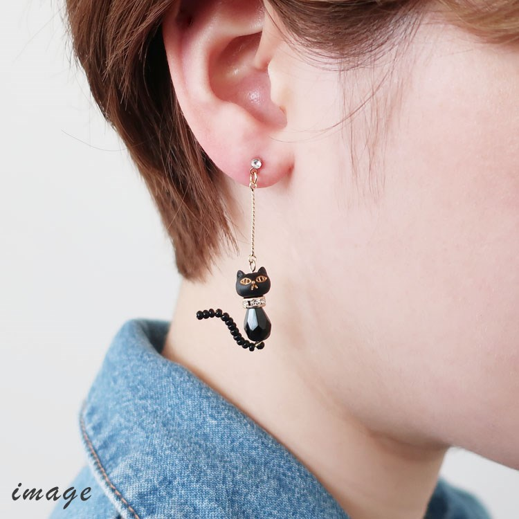 ONLINE材料セット / 黒ネコのイヤリング(2021-005)