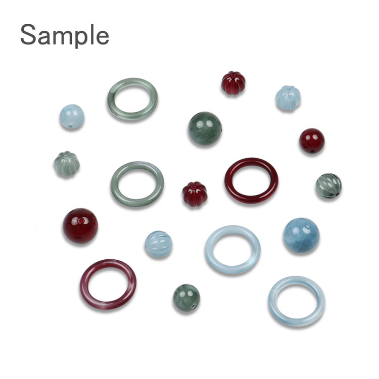プラスチックパーツ / アクリル スジ入り丸玉(775) / GR / 約12mm