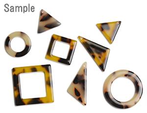 プラスチックパーツ / べっ甲柄アクリルプレート / フープ・スクエア(577) / GY