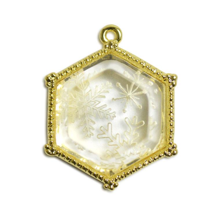 チャーム・雪の結晶(アクリル裏彫り・3387)/ WH・G