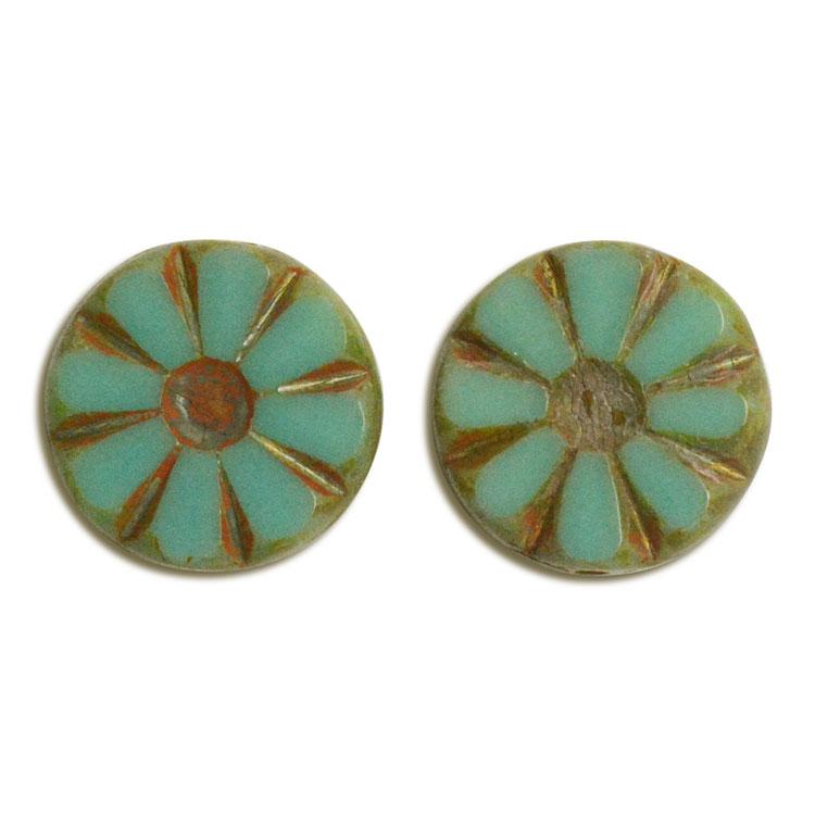 チェコビーズ(彫り入り) / コイン型(226) / グリーン