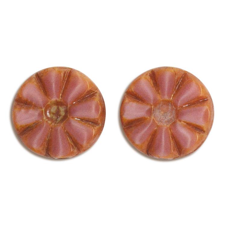 チェコビーズ(彫り入り) / コイン型(226) / ピンク