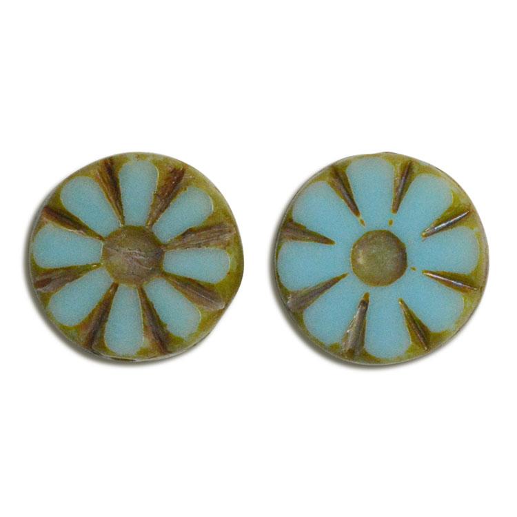 チェコビーズ(彫り入り) / コイン型(226) / ライトブルー