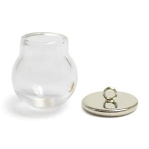 ガラスドーム(1544)/ つぼ型 約20mm(大穴)皿カン付セット/ CR・R