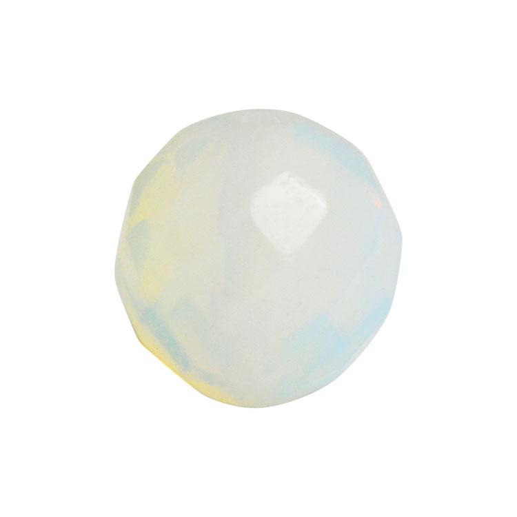 天然石 / ラウンド64面カット / ホワイトオパール合成 / 8mm
