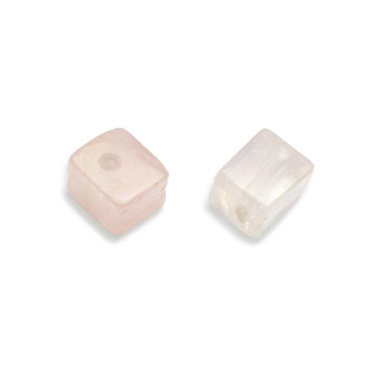 天然石 / キューブ / ローズクオーツ / 約4mm