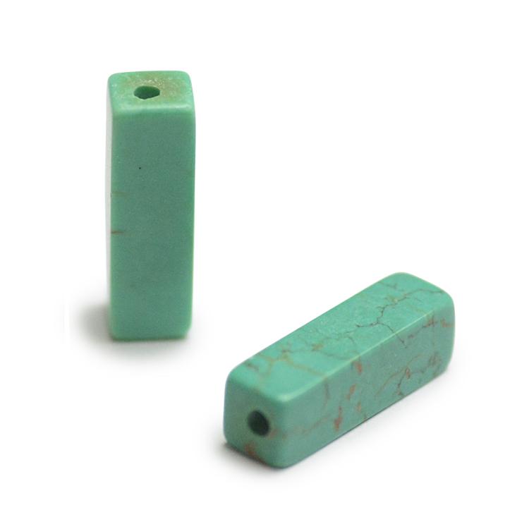 天然石 / 四角柱 / ターコイズ(練り) / 約13×4mm