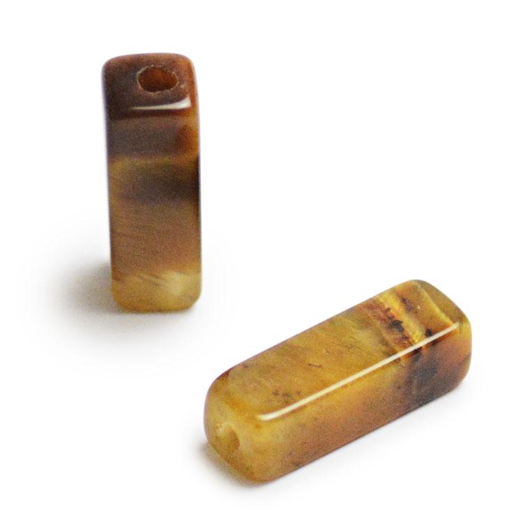 天然石 / 四角柱(縦穴) / タイガーアイ / 約13×4mm