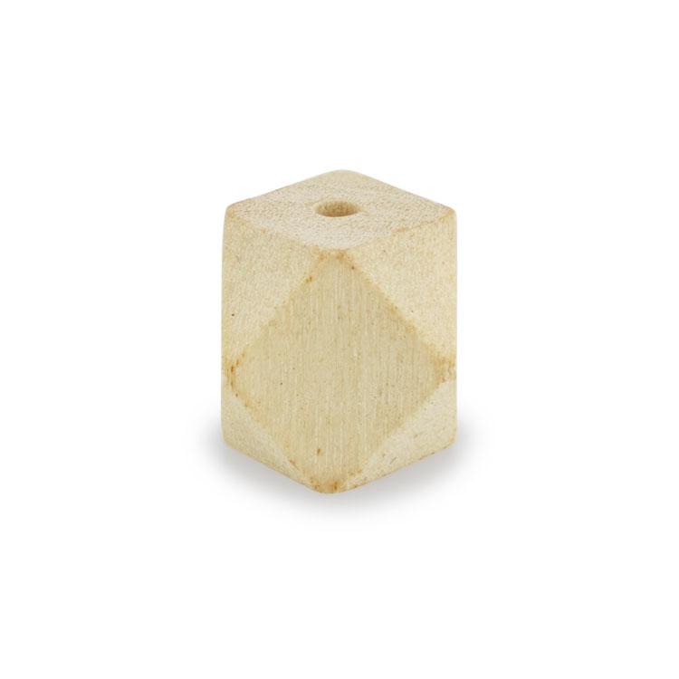 ウッドビーズ / 角柱12面(1167)/ ホワイトウッド / 約10×10mm