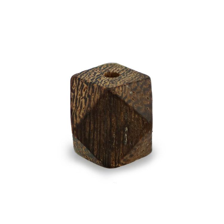 ウッドビーズ / 角柱12面(1167)/ ロブレウッド / 約10×10mm