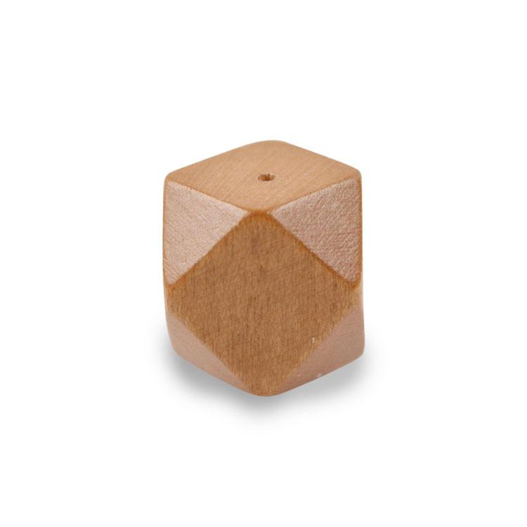 ウッドビーズ / 角柱12面(1234)/ ライトブラウン / 約15mm