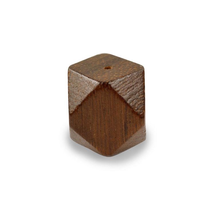 ウッドビーズ / 角柱12面(1234)/ ナチュラルブラウン / 約15mm