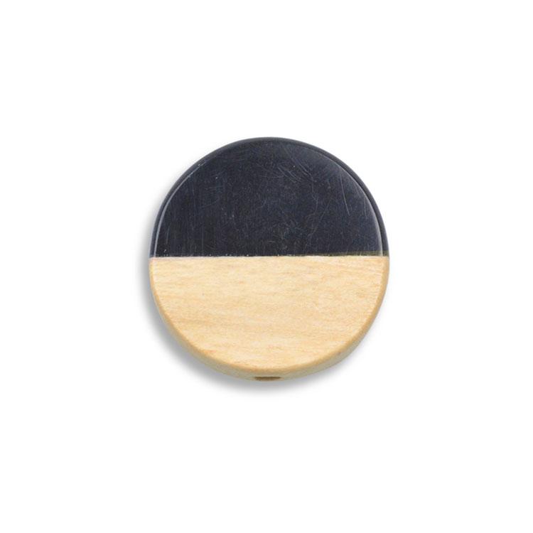 ウッド&アクリルビーズ / コイン(1281)/ 02 / 約15mm