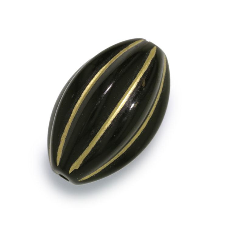 プラスチックパーツ / アクリル スジ入りナツメ(679) / ブラック(ゴールドライン) / 約21×14mm