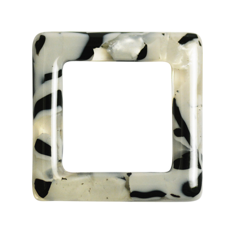 プラスチックパーツ / 大理石柄アクリルプレート / フープ・スクエア(577) / BK