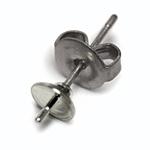 チタンポスト&キャッチピアス 片穴用(約5mm丸皿芯あり) / R / 2pcs
