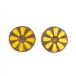 チェコビーズ(彫り入り) / コイン型(226) / イエロー