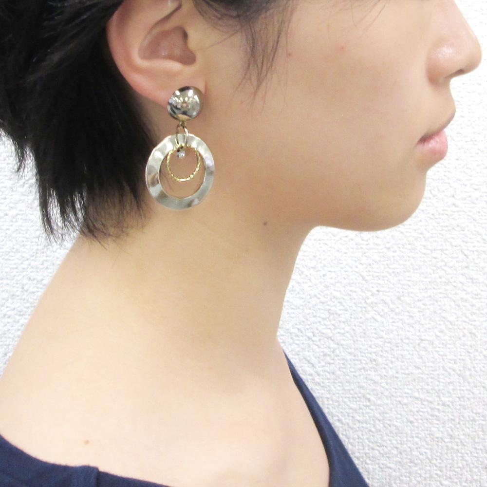 チタンポスト&キャッチピアス(15mm半円・カン付)/ G5 / 1ペア