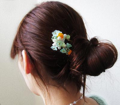 チェコビーズの花かんざし